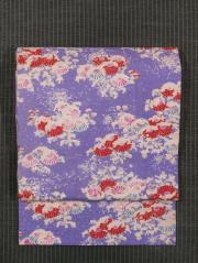 雪持ち菊文様 型染め 紬 名古屋帯