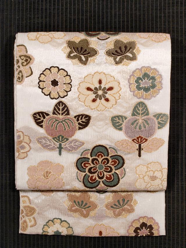 紫絋製 手織 紗 花文様 袋帯