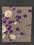梅と春蘭文様 型染めに手刺繍 名古屋帯