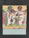 草花に鳥文様 紅型 名古屋帯