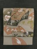 地紙に四季の草花と鷺の絵図 日本刺繍 名古屋帯