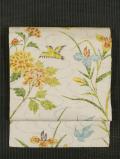 紗綾型の地紋に流水と草花と鳥文様 型染め 名古屋帯