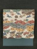 青海波に草花と鳥文様 紅型 紬縮緬 名古屋帯