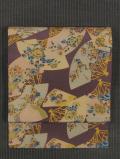 扇に草花と鳥文様 型染め 名古屋帯
