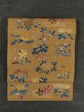 四季の草花文様 手描き染め 真綿紬 名古屋帯 【作家もの】