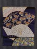 地紙に鹿の子絞りと四季の草花文様 日本刺繍 名古屋帯