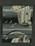 縞に帆船とカモメ文様 型染め 名古屋帯