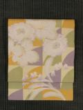 幾何学文に鈴蘭と浜茄子文様 型染め 名古屋帯
