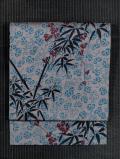 葵に笹文様 手描き染め 紬 名古屋帯