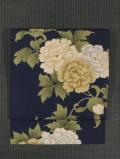 牡丹文様 型染め 名古屋帯