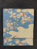 霞取りに春の草花文様 型染めに手刺繍 名古屋帯