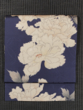 市松格子の地紋に牡丹文様 型染め 名古屋帯