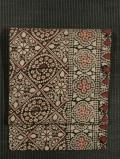 縞に幾何学花文様 印度更紗 名古屋帯