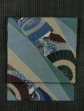 斜め縞に傘と人物文様 型染め 名古屋帯