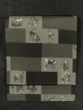 格子に歌舞伎文様 型染め 名古屋帯