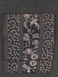 縞に鳥と更紗文様 手描き染めに型染め 名古屋帯