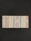 縞に花更紗文様 絣織り 半巾帯