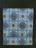 格子に丸幾何学文様 型染め 名古屋帯
