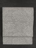 菊唐草文様 型染め 真綿紬 名古屋帯