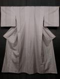 灰梅(はいうめ)色地 縞に十字絣文様 大島紬 単衣