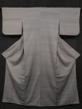 潤色(うるみいろ)地 段縞に小紋文様 お召し 単衣