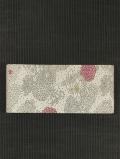 草花文様 型染め 紬 半巾帯