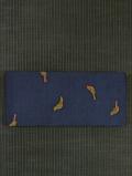鳥文様 型染め 紬 半巾帯