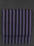 縞文様 綿絣織り 名古屋帯
