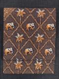 菱に象とヤシの木文様 和更紗 名古屋帯