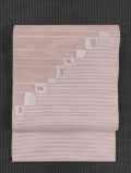 縞に幾何学文様 絽綴れ 八寸名古屋帯