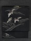 波に千鳥文様 日本刺繍  絽 名古屋帯