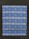 格子に鳥文様 絣織り 麻 名古屋帯
