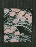 露芝に秋草文様 型染めに手刺繍 絽 名古屋帯