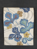 流水に草花文様 型染めに日本刺繍 紗織り 名古屋帯