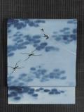 あめんぼうの絵図 手描き染めに手刺繍 絽 名古屋帯