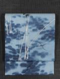 葦(よし)にあめんぼうの絵図 手描き染めに手刺繍 絽 名古屋帯