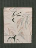 柳に燕文様 型染め 竪絽縮緬 名古屋帯