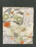 秋草文様 型染めに手刺繍 絽 名古屋帯