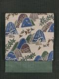 遠山に鳥文様 紅型 楮紙布(こうぞしふ) 名古屋帯