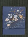 水辺に千鳥文様 手刺繍 絽(夏塩瀬 )名古屋帯