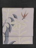 葉鶏頭に蜻蛉文様 型染め 絽 名古屋帯