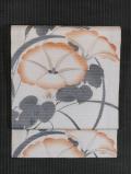 薄に朝顔文様 染めに日本刺繍  絽 名古屋帯