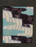 帆掛け舟に千鳥文様 型染め 竪絽縮緬 名古屋帯