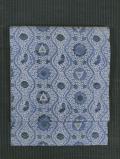立涌に花と兎と蝶文様 藍型染め 名古屋帯