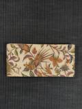 唐花に鳥文様 型染め 半巾帯