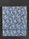木の葉に寄せ小紋文様 藍型染め 名古屋帯