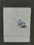 流水に蟹文様 型染め 麻 名古屋帯