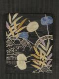 槌車に水草文様 型染めに手刺繍 絽 名古屋帯