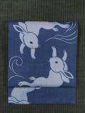 飯島桃子作 流水に兎文様 藍型染めに日本刺繍 麻 名古屋帯