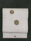 飯島桃子作 丸に秋草と蜻蛉文様 きりばめ刺繍 麻 名古屋帯